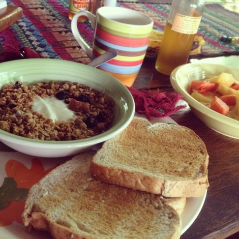 Breakfast on day 1 -- yogurt, granola, toast and fresh fruit...and coffee.  I never miss my coffee.