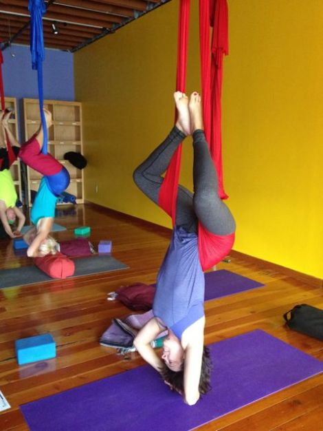 Hanging out at Aerial Yoga, stretching out in a way that I can not imagine obtaining any other way!
