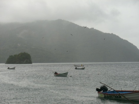 Leaving the dock in Charlotteville, looking to the west.